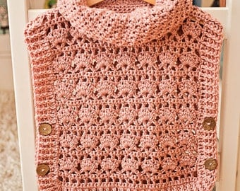 Crochet PATTERN - Rose Poncho - Pullover (sizes from 1-2y up to Adult XL) - Instant download