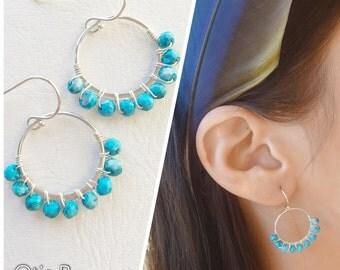 Turquoise earrings, boho, sterling silver geometric earrings, wire wrapped, hoop earrings, circle earring, otis b, semi precious