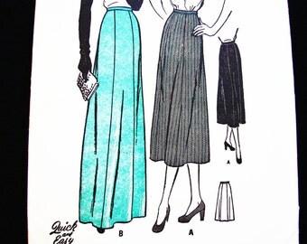 "1940s Skirt Pattern Misses size 16 waist 28"" Womens 2 Lengths Midi Skirt, Maxi Skirt, Evening Length Skirt Vintage Sewing Pattern"
