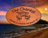 Large Oval Personalized Family Name Cedar Sign Sunset Chairs - Custom Carved Wooden Camp Sign - JGWoodsigns - Etsy