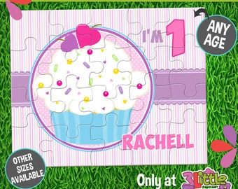 """Cupcake Puzzle - Personalized 8 x 10"""" Puzzle - Personalized Name Puzzle - Personalized Children Puzzle - Personalized Birthday Puzzle"""