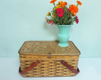 1950s Metal Picnic Tin, Tan Faux Woven Wicker Pattern, Oak Handles