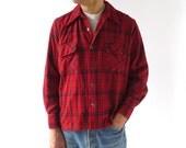 Red Plaid Shirt / Men's Wool Shirt / Men's 70s Shirt / Medium M