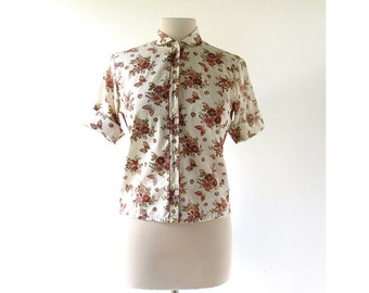 Vintage Floral Blouse | Herbstgarten | 60s Shirt | Small S