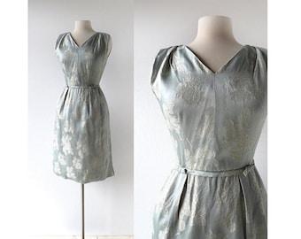 50s Cocktail Dress / Silver Rose / Silk Dress / 1950s Dress / XS
