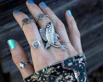 Sterling Silver Fish Ring Sterling Silver Statement Ring Koi Ring Koi Jewelry Big Ring Big Silver Ring Ocean Jewelry Statement Jewelry