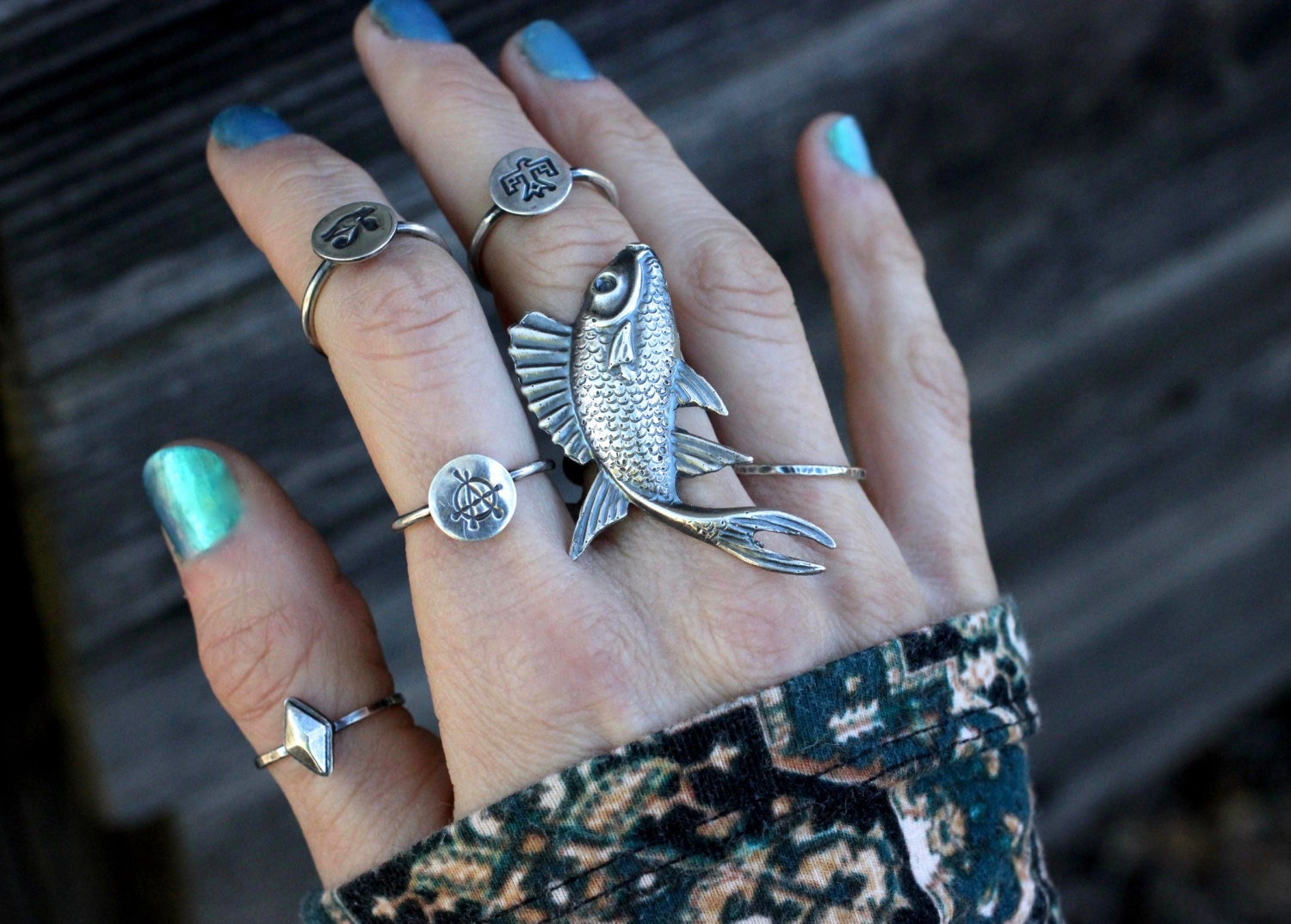 Sterling silver fish ring sterling silver statement ring koi for Koi fish ring