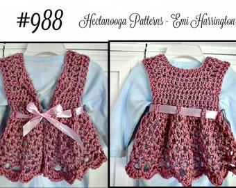Bolero Vest, Baby Sweater, Flared Girl's Shrug,  Crochet PATTERN- kids, child, children, Newborn - 6 yrs,  one hour vest,  jacket,#988