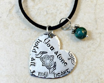 Celtic Heart Necklace, Celtic Heart Jewelry, You Alone Hold All My Heart, Sassenach Jewelry, Celtic Jewelry, Moby