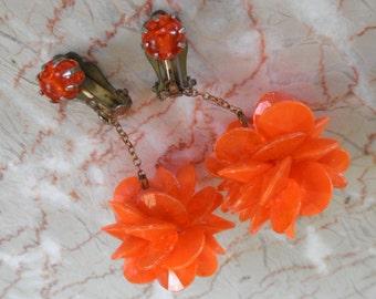 Vintage Tangerine Earrings, Funky Plastic Disc Ball Drops