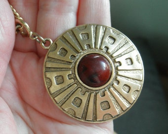 Vintage Sarah Coventry Necklace with detachable Pendant, Carnelian