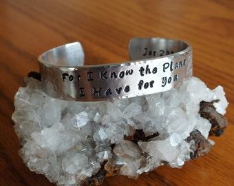 """For I Know the Plans - 1/2"""" Aluminum Prayer Cuff"""