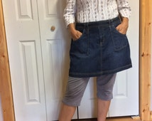 Up-cycled Denim Half Apron with Pockets/Blue Jean Apron/Women's Half Apron/Short Apron/Recycled Jeans/Repurposed Clothing/Free Size
