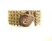 Khaki Dragon Micro Macrame Cuff Bracelet  - Macrame Bracelet - Dragon Bracelet