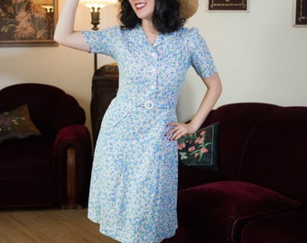Vintage 1930s Dress - Adorable Floral Print Cotton 30s Day Dress in Pink and Blue with Attached Belt