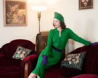 Vintage 1940s Sweater Set - Vivid Kelly Green Knit Wool Boucle 40s Zip Front Cardigan and Skirt Set