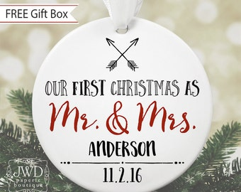 Unique Bridal Shower Gift Personalized Wedding Gift for Couples Mr and Mrs Wedding Gift Idea Personalized Christmas Ornament #OR11MG