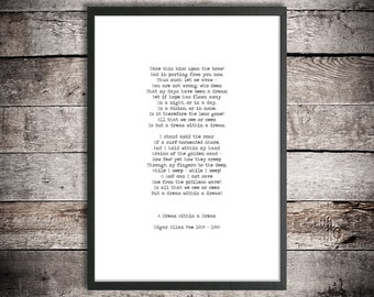 Edgar Allan Poe Printable Poetry 'A Dream Within a Dream' Instant Download Word Art Digital Print Typewriter Font Hand Typed Poem Poster