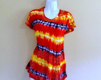 288 - Vintage 90s Tie Dye Hippie Tunic - One Size