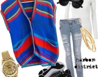 Vintage 80s Colorful Striped Sweater Vest - Size L