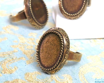 Oval Brass Ring Blank base setting for 13x18mm cab , Adjustable mid band , oxidized rustic finish , Antique Gold Bronze ring bezel vintage