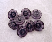 Floral Plastic Buttons 15mm - 5/8 inch Translucent Plum Purple Flowers with Black Centers - 8 Glossy Faceted Amethyst Sewing Buttons PL041
