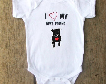 Pit Bull Puppy baby bodysuit.  White Long Sleeve available