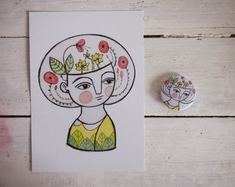 SET, flower girl postcard + brooch