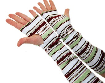 Arm Warmers in Sage White and Maroon Stripes - Cotton Fingerless Gloves - XS/S - LAST PAIR