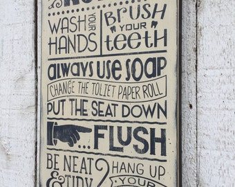 Bon Bathroom Rules   Distressed Rustic Hand Painted Wood Sign, Childrenu0027s Bathroom  Wall Decor, Typography