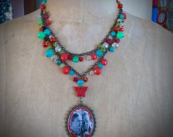 Stunning  Frida Kahlo Diego Rivera Colorful Beaded Necklace and  Large Milagro- Perfect for your Loved One