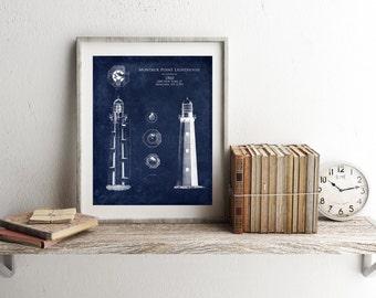 Montauk Point Lighthouse architectural blueprint, lighthouse elevation, light station, beachy decor, beach decor, lighthouse art, wife gift