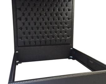 black faux leather king size bed with nailheads queen size bed tufted upholstered bed with nails