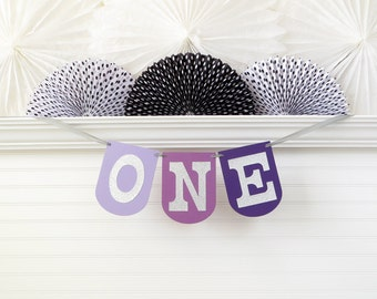 Ombre Purple and Silver ONE Banner - 7.25 inches tall - 1st Birthday Banner One Highchair Banner First Birthday Decoration One Birthday Sign