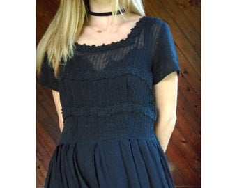 50s Black Short Sleeve Crochet Lace Trim Calf Length Tea Dress - SMALL MEDIUM S M 4 6