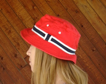 Red Striped Summer Bucket Hat - Vintage 90s XS S