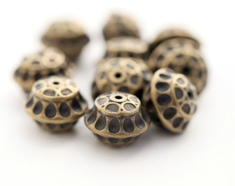 Vintage Faceted Antique Bronze Saucer Lucite Spacer Beads 16mm (8)
