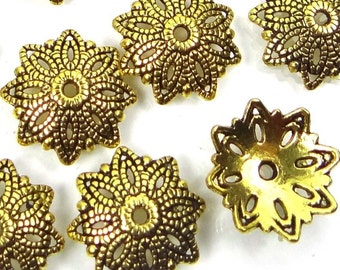 25 Antique Gold Pewter Flower Bead Caps 16mm  (P261)
