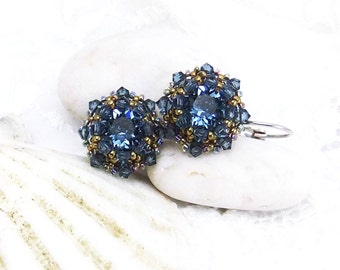Denim Blue Swarovski Crystal Beaded Star Earrings Handmade,Chatons, Silver Plated lever backs