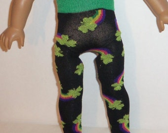 18 inch Doll Tights, St Patrick's Day, Shamrocks, Rainbow, American Made, Girl Doll Clothes, Black Green