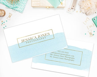 Watercolor Business Card Template For Photographers Branding Editable Template Photoshop Template PSD Instant Download Photography Business