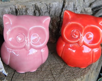 Ceramic  Owl Statue in   Pink   Baby   Owl Nursery decoration baby, home or garden statue cm