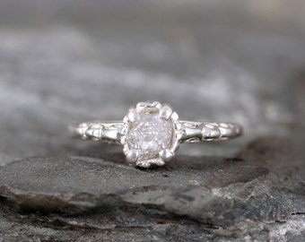 Raw Uncut Rough Diamond Solitaire and Sterling Silver Filigree Ring - Antique Styled Engagement Ring - Gemstone - April Birthstone