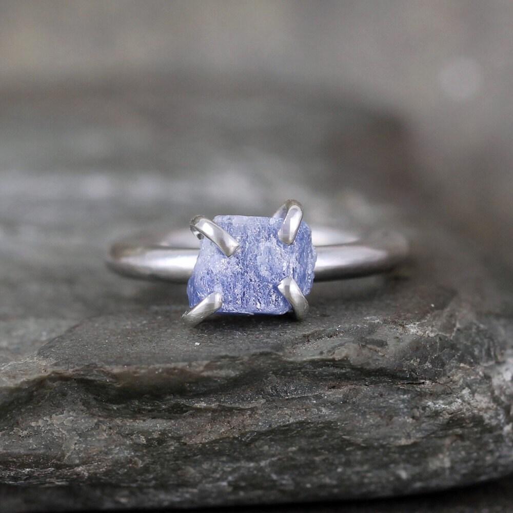 Blue Sapphire Ring Raw Uncut Rough Blue Sapphire Sterling