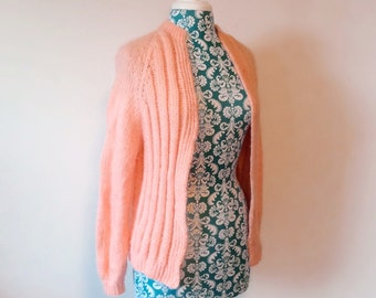 vintage pink sweater // fuzzy mohair cardigan // 1960s 60s romantic sweater