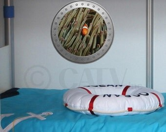 Porthole Clown Fish vinyl wall lettering kids room decor boat ocean theme wall decal self adhesive sticker