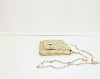 Metallic Mesh Purse, Vintage White Purse, 60s Chain-Mail Bag, Mod Off White Bag, Small Chain Bag, Chain Cross Body Bag, 1960s Formal Purse