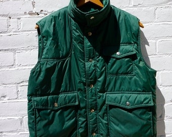 Vest Puffy Hunter Green 1980s Mens Sigallo