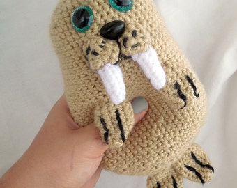 Squishy Walrus Plushie // Crochet Stuffed Animal Amigurumi