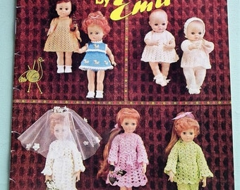 Dolly Book by Emu Vintage Knitting Crochet Patterns 1970s Dolls Clothes 70s original patterns book booklet retro dolls layette
